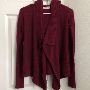Hollister Burgundy Knit Cardigan